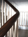 Coffee Bean Coloured handrail - French Polished and silver spindles