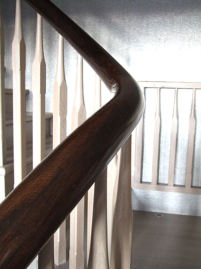 Coffee Bean Coloured Handrail   French Polished And Silver Spindles