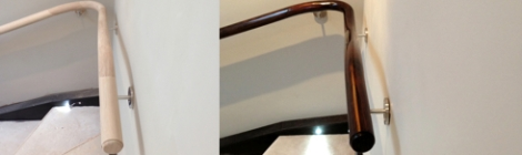 Light to Dark Oak Handrail French Polishing