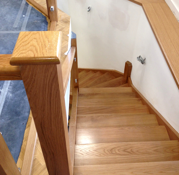 Oak Staircase With Three Types Of Finish