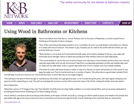 Paleamber French Polishing and Bespoke Furniture on the Kitchen and Bathroom Network