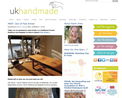 Paleamber French Polishing and Bespoke Furniture on the UK Handmade website